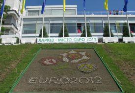 В Харькове открыли огромную клумбу Евро-2012 и презентовали свой логотип Чемпионата
