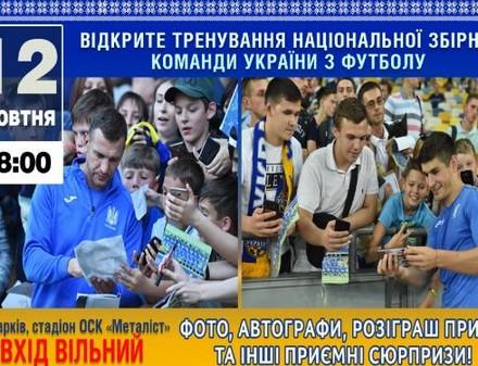 На стадионе «Металлист» состоится открытая тренировка сборной Украины по футболу